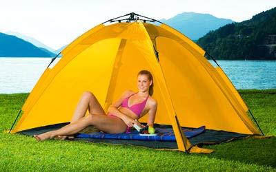 Leichter Aufbau UV 50 orange Klappmechanismus Sonnenschutz Berger Strandmuschel Fold