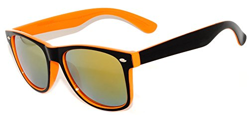 Retro Classic Vintage Two-Tone - Black & Orange Sunglasses Mirror ()