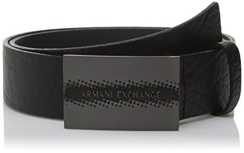 Armani Exchange Men's Logo Plaque Belt, Black, 36 (Armani Jeans Leather Belt)