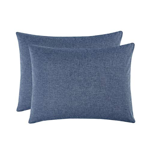 Wake In Cloud - Pack of 2 Pillow Cases, 100% Washed Cotton Pillowcases, Denim Blue Yarn Dyed Plain Solid Color Comfy Soft (King Size, 20x36 - Denim Blue Pillow