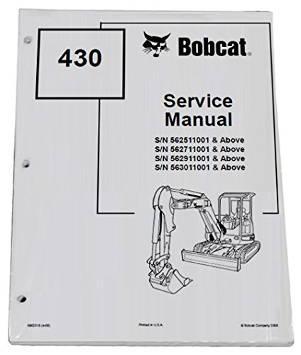 Bobcat 430 Compact Excavator Repair Workshop Service Manual - Part Number # 6902318 by Bobcat (Image #1)