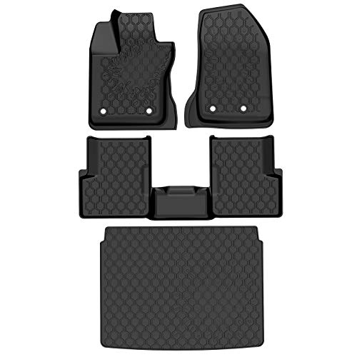OEDRO Floor Mats & Cargo Liners Set Compatible for 2015-2019 Jeep Renegade, Black All Weather TPE Custom Fit Front, Rear and Cargo Slush Mat Full Set Liners