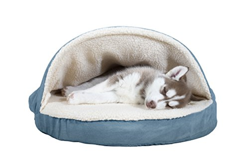 FurHaven Pet Dog Bed | Orthopedic Round Faux Sheepskin Snuggery Burrow Pet Bed for Dogs & Cats, Blue, 26-Inch
