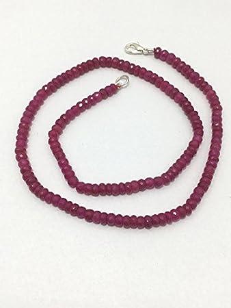 Collar de cuentas de rubí facetado de 3,5 a 5 mm con piedras preciosas de 45,72 cm y cuentas de rubí facetadas