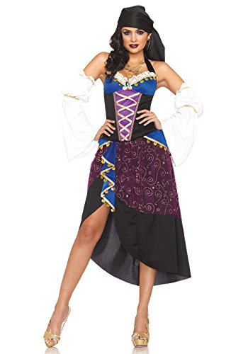 [Leg Avenue Women's 4 Piece Tarot Card Gypsy Costume, Purple/Blue, Small] (Gypsy Costume Head Scarf)