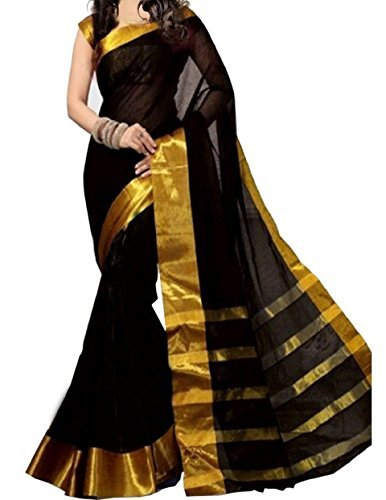 Price comparison product image Kanchan Women Wedding Cotton Silk Printed Saree For Ladies & Girls (Black Kindle)