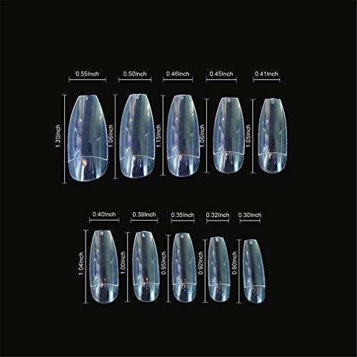 (Coffin Nails Long Ballerina Nail Tips Square Head French Fake False Nails Artificial Nature Transparent Transparent)
