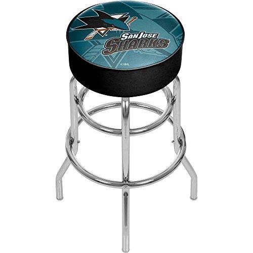 Trademark Gameroom NHL1000-SJS-WM NHL Chrome bar Stool with Swivel - Watermark - San Jose Sharksa