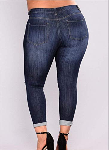 Botones Agujeros Jeans Blau Adelina Bolsillos Womens Denim Plus Pantalones Leggings Rasgados Cintura Navy De Delanteros Alta Ropa FEzPwE