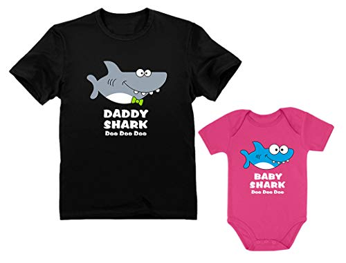 Baby Shark Bodysuit & Daddy Shark T-Shirt Doo Doo Doo Funny Set Newborn & Dad Daddy Black X-Large/Baby Wow Pink 12M (6-12M) ()