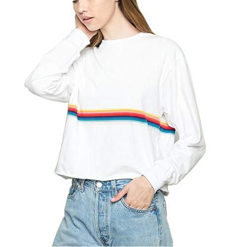 Summer Cropped Sweatshirts Women Cute Rainbow White Aesthetic Baggy Sweater Oversized Juniors Teen Girls (Multicolored, M)