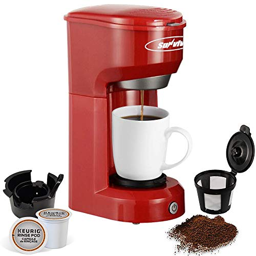 Single Serve K-CUP Coffee Maker for Capsule Pod Ground Coffee, Single-Serve Brewers with Permanent Filter 6-14OZ Reservoir, One-Touch Control Coffee Machine, Quick Brew Technology, Auto Shut Off, Red