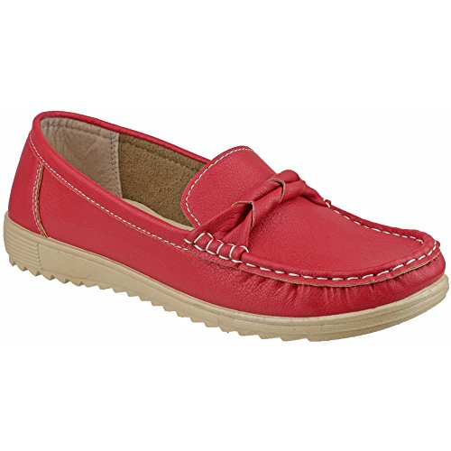 Amblers Womens PAROS Navy Twist Detail Mocassin Casual Red zRS1d