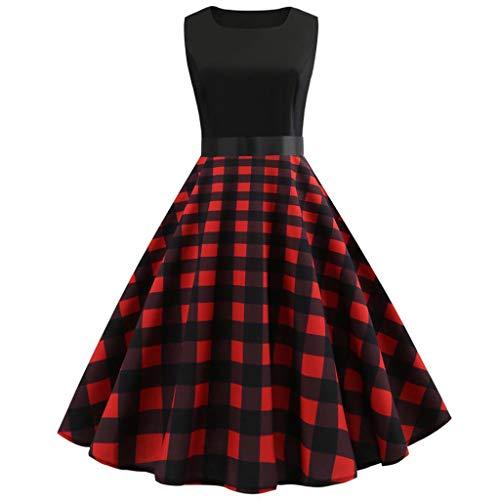 TOTOD Dress for Women, Fashion Women's Vintage Print Minidress Sleeveless Elegant Party Costume Red