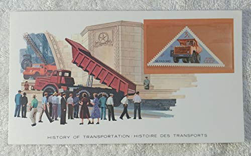 Dump Lorry - Postage Stamp (Soviet Union/USSR, 1971) & Art Panel - The History of Transportation - Franklin Mint (Limited Edition, 1986) - Belaz 540, Dump Truck