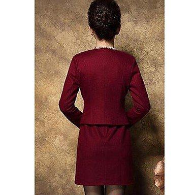 PU&PU Robe Aux femmes Gaine Simple,Jacquard Col Arrondi Au dessus du genou Nylon , red , m