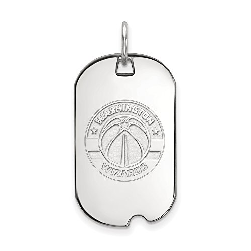 LogoArt NBA Washington Wizards Small Dog Tag Pendant in Rhodium Plated Sterling Silver by LogoArt