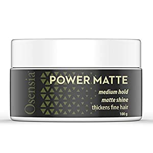 Matte Hair Clay – Water Based Hair Styling Gel with Matte Finish and Medium Hold for Natural Styling – Weightless Texture, No Residue, Thickens Fine Hair by Osensia, 3.4oz by Osensia