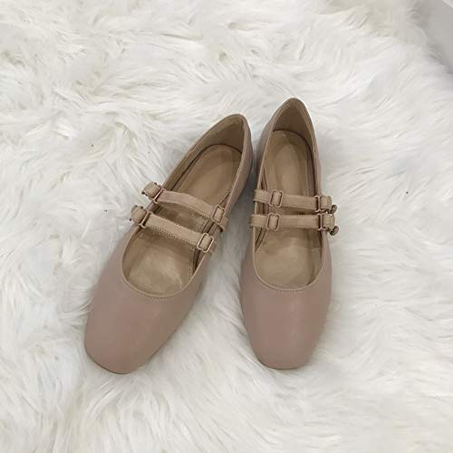 Cuadrados Universitarios Zapatos Únicos AIMENGA Nuevos Planos powder Planos Bare Femeninos Retro Divertidos Zapatos nvqwOHwWS