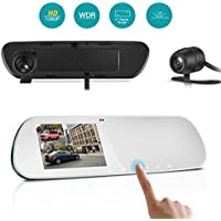 TryAce T9P Dual Dash Cam Rearview Mirror Backup Camera 4 IPS Screen FHD 1080P Front and Rear Dash Camera with G-Sensor,WDR,Loop Recording,Super Night Vision Car Dashcams Pro-(Silver)