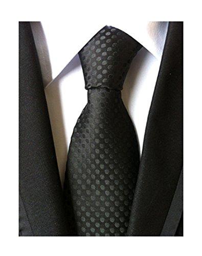 MENDENG Classic Polka Dot Black Ties Jacquard Woven Silk Men's Suit Tie (Christmas Silk Necktie)