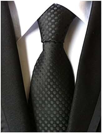 MENDENG Classic Polka Dot Black Ties Jacquard Woven Silk Men's Suit Tie Necktie