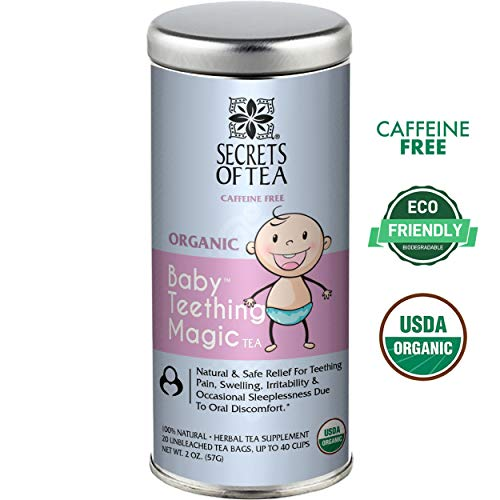 Secrets Of Tea, Baby Teething Relief, Baby Teething Magic Tea,60 Doses. Teething relief for Painful Gums, Irritability. Benzocaine, chemicals & Preservative-Free, Natural & USDA Organic Ingredients