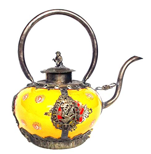 (Petite Chinese Teapot Hand Painted Ornamental Armored Porcelain Tibetan Miao Silver Monkey Kirin Dragons)