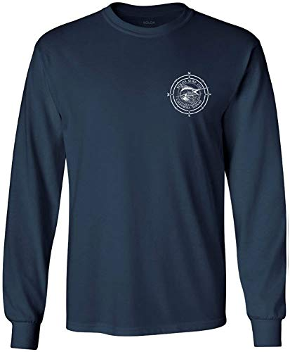 (Joe's USA Koloa Surf Long Sleeve Marlin Logo Heavy Cotton T-Shirt-Navy/w-XL)
