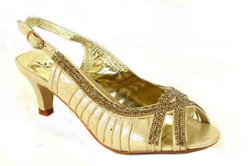 Ladies Heel Bridesmaid Wedding Shoes Bridal Evening Prom 37 MZC012 Womens SKO'S Gold Sandals Low Size t0q8UU