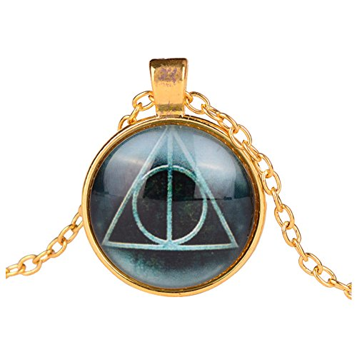 [Harry Potter Deathly Hallows Print Cabochon Pendant Necklace - Gold] (Dobby Harry Potter Costumes)