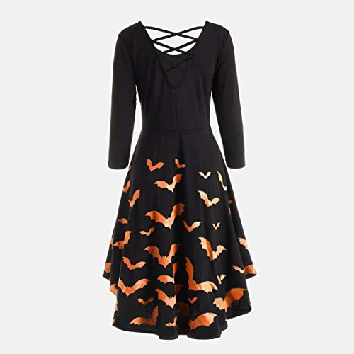 Flare Halloween Dress Casual Print Sleeve Long Party Women Orange Dress Bat Dresses Hollow 4Ow0Bg4