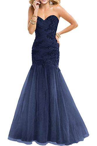 Abendkleider Braut La Marie Navy Festlichkleider Lang Promkleider Ballkleider Gruen Spitze Dunkel Blau Trumpet Yx1fRWYn