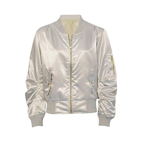 Ladies Celebrity Inspired Lightweight Satin Bomber Jacket US Size 4-10 (US 8 (UK 10) , White)