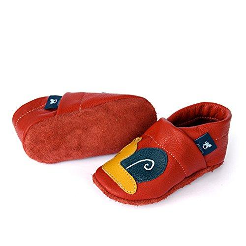 Pantau Leder Krabbelschuhe Lederpuschen Babyschuhe Lauflernschuhe mit Schnecke, 100% Leder ROT_GELB_BLAU