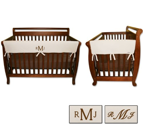 Personalized Embroidered Monogram or Name 3pc Trend Lab Crib Wrap Rail Guard Set, Natural by Trend Lab (Image #2)