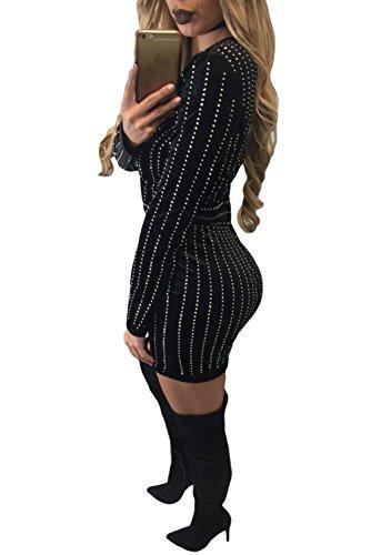 Neue Damen Schwarz Samt Strass gestreift Wrap Kleid Büro Party Wear Abend besonderen Anlass Kleid Größe S UK 8–10EU 36–38