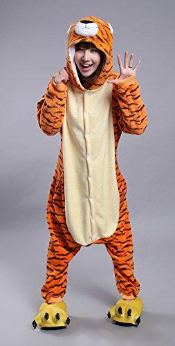 Joygown Adulte Unisexe Pyjama Une Pièce Vêtements De Nuit Halloween Noël Partie Tigre Costume Cosplay Animal