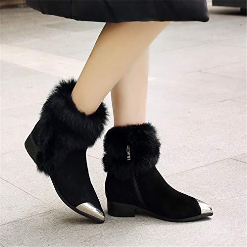 La Para Plataforma Señora Mujer Botas Con Martin Yan De Caminar Ocasionales Zip Ante Zapatos Invierno Cuero Negro Antideslizantes Nieve 5qgIxwCw4