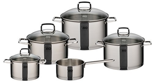 Elo Straight Line Stainless Steel 9-Piece Cookware Set With Energy Saving Encapsulated Bottom, Integrated Measuring Scale, Oven Proof, and Induction Ready