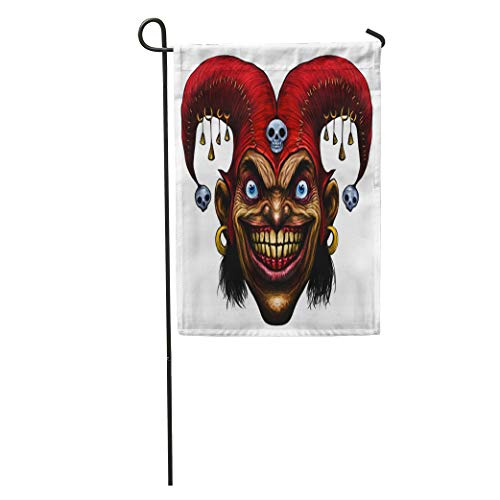 Semtomn Garden Flag Smile Laughing Angry Joker Character Head Clown Crazy Face Scary Home Yard House Decor Barnner Outdoor Stand 28x40 Inches Flag
