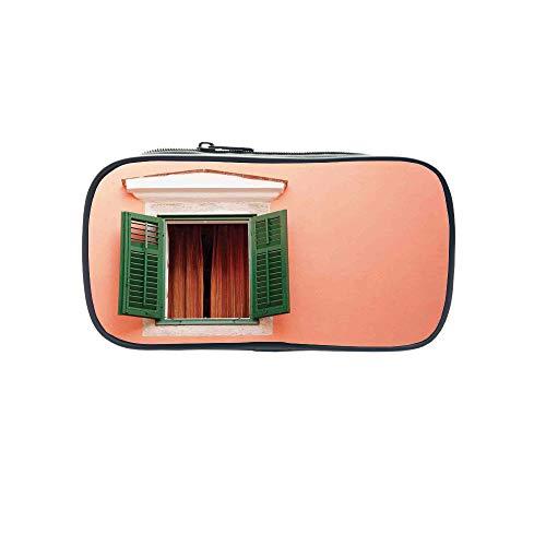 Ecru Print (Customizable Pen Bag,Shutters Decor,Cultural Ancient Mediterranean Wood Window Shutter Surrounded by Ivy Image Print,Ecru White Green,for Kids,3D Print Design.8.7