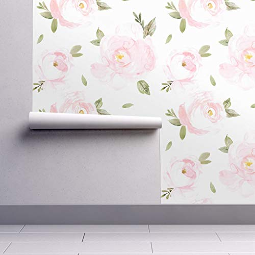Peel-and-Stick Removable Wallpaper - Jumbo Floral Watercolor Nursery Home Decor Floral Pink Pastel by Crystal Walen - 12in x 24in Woven Textured Peel-and-Stick Removable Wallpaper Test Swatch