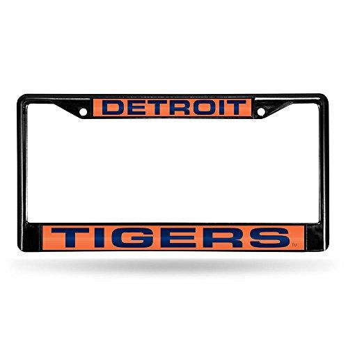 Rico Industries RIC-FCLB4301 Detroit Tigers MLB Laser Cut Black License Plate Frame Black Detroit Tigers Frame
