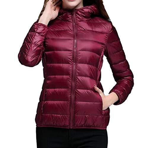 Red Juleya Coat Women Wine Down Hooded Duck Ultra Light Slim Short Jacket Down Jacket Warm Jackets Down Coat ZTxZAqrw