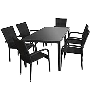 7piezas. Sillas mesa de aluminio con tablero de cristal en antracita opaco, 160x 90cm + 4x sillas plegables con Polirratán Negro–Mobiliario de jardín Asiento Grupo silla apilable silla de jardín terraza Muebles