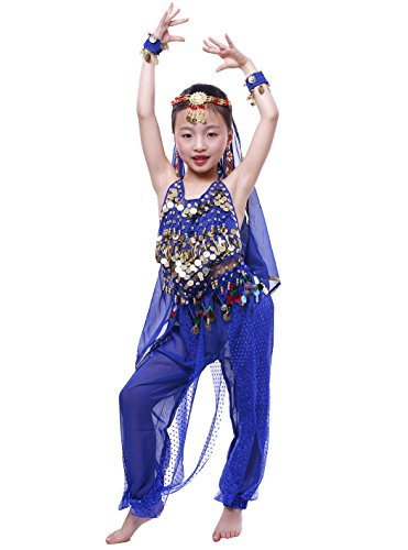 Astage Girls Arabian Princess Costume Belly Dancing Dress Halloween Carnival Set Royal Blue M -