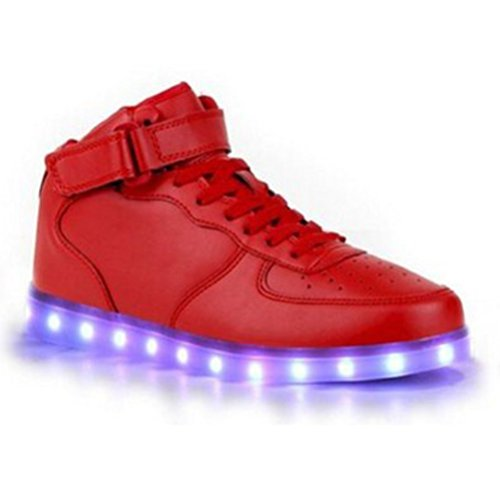 (Present:kleines Handtuch)JUNGLEST® Frauen Männer High Top USB Lade LED leuchten Schuh Blink Rot