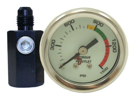 Gauge Pressure Nitrous Electric - Nitrous Outlet luminescent Nitrous Pressure Gauge & 4an Manifold