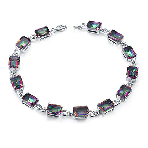 Aurora Tears Women Mystic-Topaz Rainbow Created-gemstone Circle Tennis Bracelet DB2M (rectangle stone 7.68